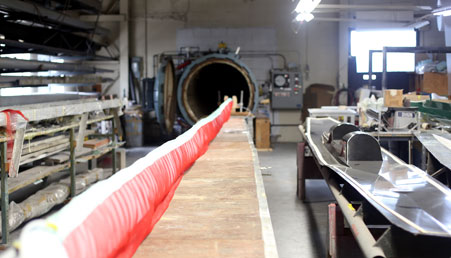 custom carbon fiber mast entering autoclave