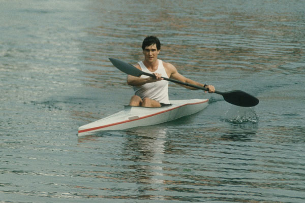 Greg Barton in composite kayak manufactured by CEI